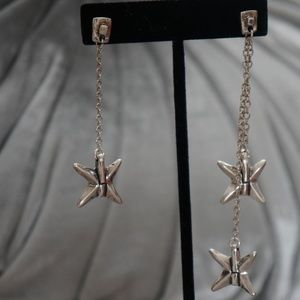 "New UNO de 50 4"" Drop Silver Star Dangle Earrings"